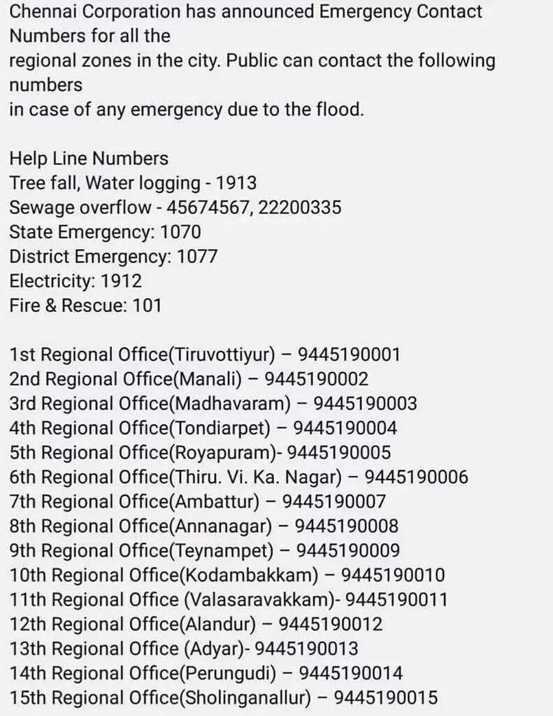 Chennai Emergency Numbers, Hotline, Shelter arrangements for
